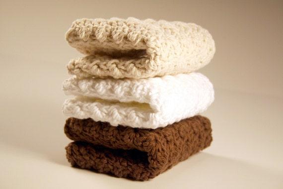 Kitchen Dishcloths - Hand Crocheted in Brown, Cream, White