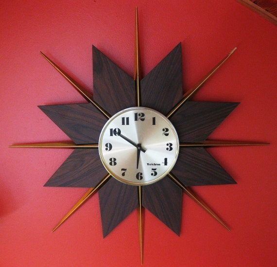 mid century modern sunburst wall clock by verichron george