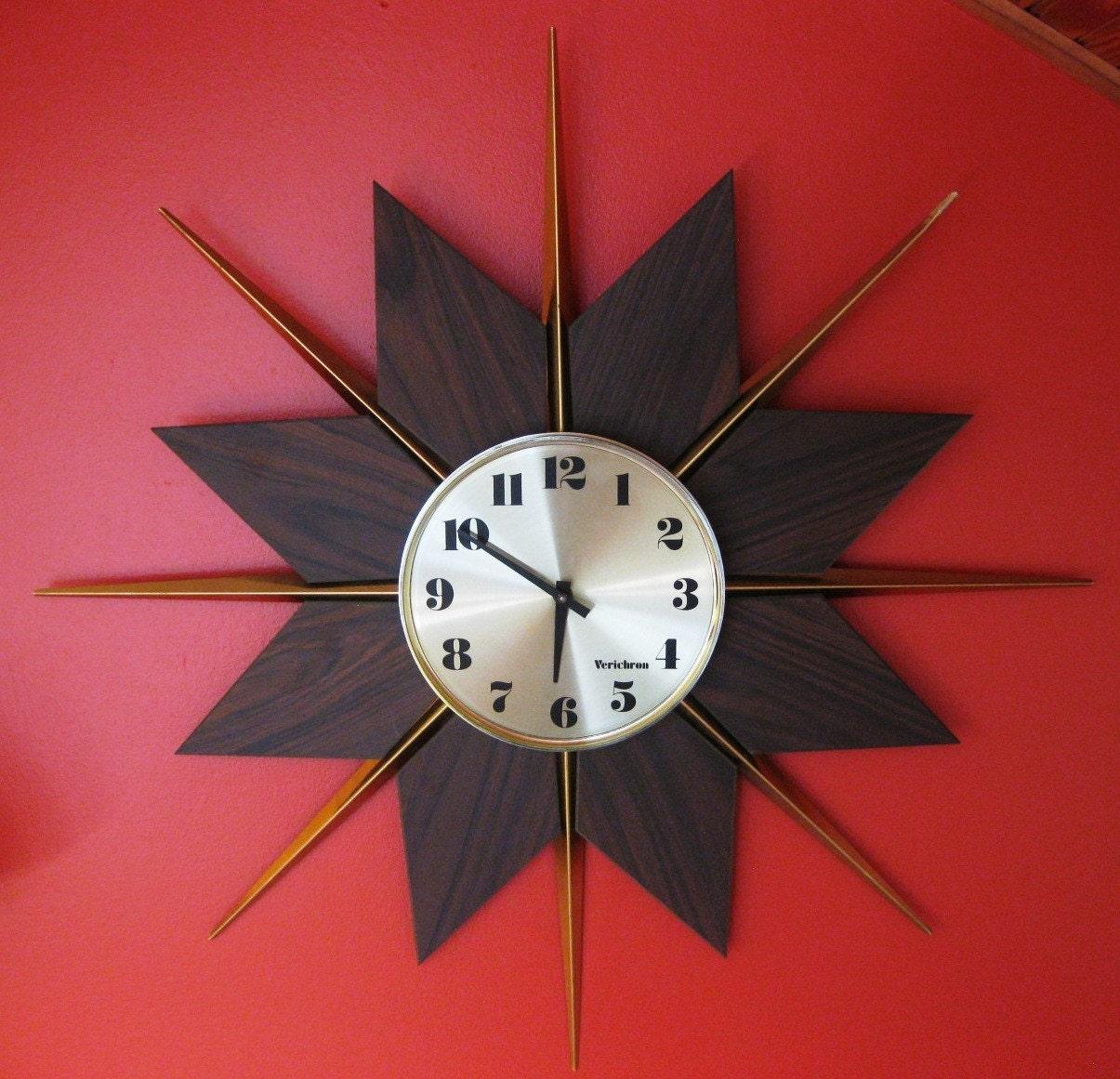 mid century modern sunburst wall clock by by modernrelicsshop