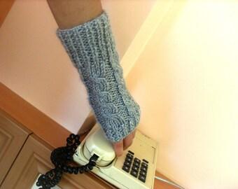 LIGHT GREY Fingerless Gloves, Mittens