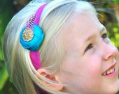 ONLY 1-Flowers & Feathers-Turquoise Duponi Silk Rosette with a Hot Pink Feather Golden Crystal on a matching headband-Babies to Big Girls