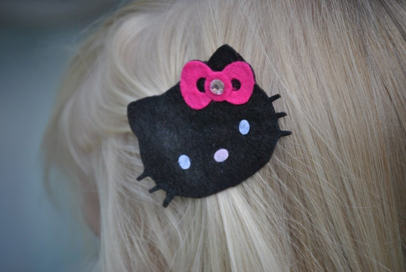 PUNK KITTY CAT-Black Kitty Clippie with Hot Pink Bow and Crystal Accent