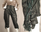 RESEREVED Vintage 80s YSL Yves Saint Laurent Rive Gauche Army Green Leather Friinge Cropped Pants S