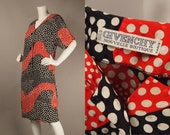 Vintage 80s GIVENCHY Polka Dot Silk Shift Dress Buttons Swirl Print M L