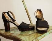 Vintage 1990s YSL Yves Saint Laurent Platform Ankle Strap High Heels Sandals 8