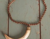 Vintage 40s Huge Animal Tusk Pendant Necklace Brass Chain Horn Boar