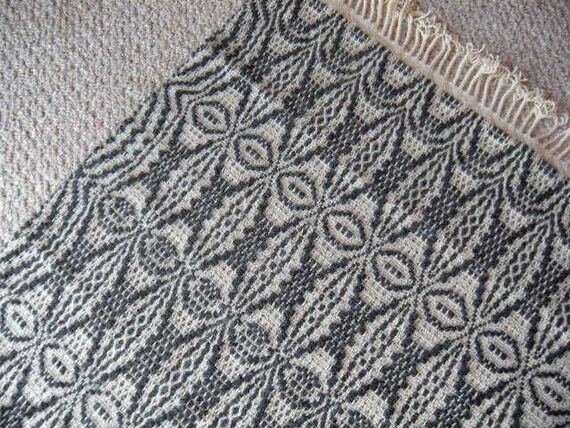 Handwoven Wool Area Rug -  Dark Grey & Cream