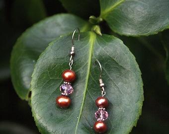 Copper Colored Pearl Drop Earrings