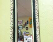FREE SHIPPING: Pink polka dot hand painted mirror