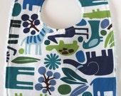 Wild Blue Animal Bib - Handmade With Chenille Backing
