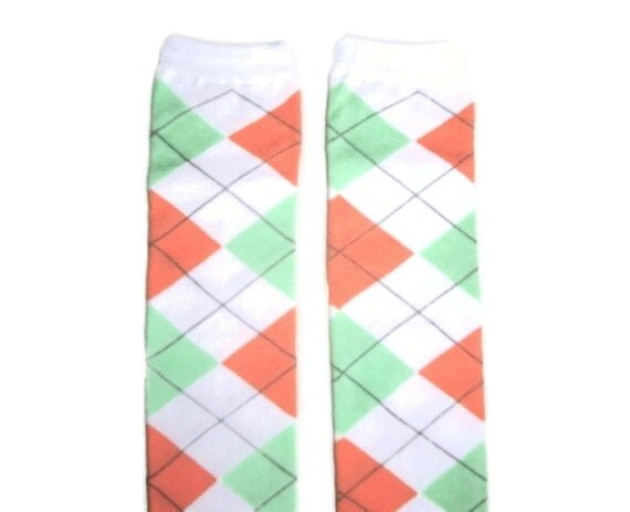Leg Warmers - Peach/Mint/White Argyle