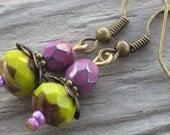 Apple Orchard Drop Earrings - Tiny, Jewel-toned Beautiies