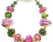 SOLD JBB Juicy Pink ARTISAN Boro Bracelet, Gold Pink Green Bracelet, Borosilicate Beads