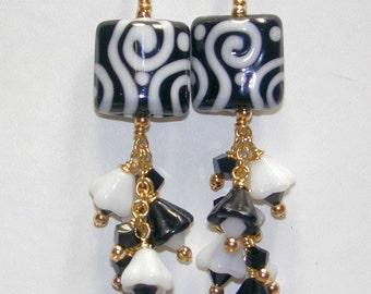JBB Black and White Handmade Lampwork Beads with Dangling Flower Earrings