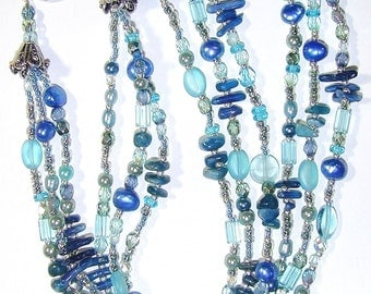 JBB Beachy Blue Necklace Kyanite Coral Freshwater Pearls Green Sterling Silver