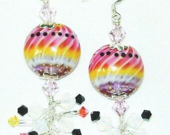 JBB Silvered Watermelon Stripe Earrings-Raspberry Purple Yellow Black Silver Earrings