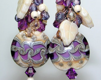 JBB Braided SILVERED Amethyst LENTIL Handmade Lampwork Earrings