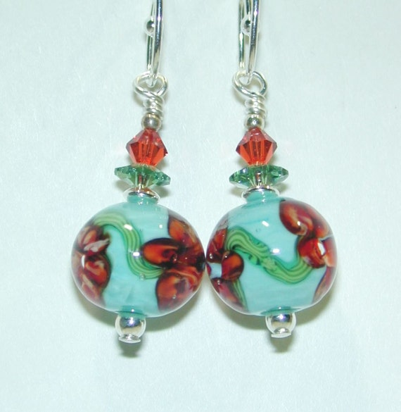 JBB Persimmon Blooms on Bed of Bright Caribbean Turquoise Lampwork Bead Earrings