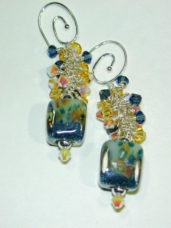 JBB Speckled Easter Cube Dangles Handmade Boro Bead Earrings