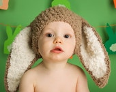 6 to 12m Easter Baby Bunny Hat Baby Beanie - Crochet Baby Hat in Brown, Cream, Unisex Flopsy Rabbit Hat  - Baby Bunny Photo Prop