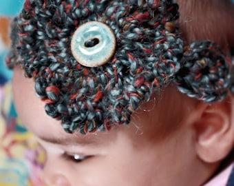 0 to 3m Newborn Blue Flower Headband, Button Headband, Crochet Baby Headband, Ruffle Flower Headband, Ruffle Headband Photograpy Prop Gift