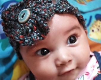 SUMMER SALE 6 to 12m Blue Baby Flower Headband Crochet Baby Headband - Blue Button Headband Crochet Flower Girl Baby Prop Photo Prop Gift