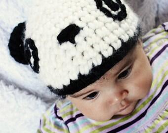 SALE 0 to 3m Newborn Panda Hat Baby Bear Beanie Baby Shower Gift Baby Hat Black Off White Panda Bear Hat Newborn Bear Prop Photo Prop Gift