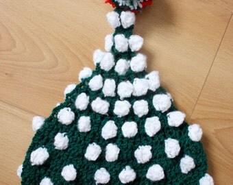 SUMMER SALE 6 to 12m Baby Elf Hat Pom Pom Pixie Beanie - Green, Red, White Pom Pom Hat Crochet Baby Hat Baby Photo Prop Halloween Gift