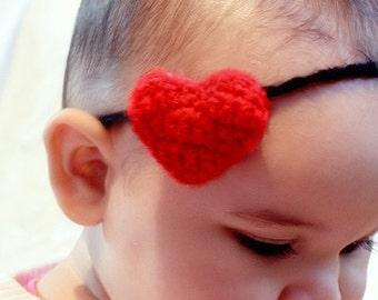 12 to 24m Love Heart Baby Headband, Red Valentine Heart Headband, Crochet Baby Valentine Headband, Plush Love Heart Photo Prop Costume Gift