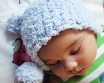 SALE Preemie Newborn Bear Beanie Newborn Blue Bear Hat Crochet Boy Blue Baby Hat Preemie Baby Infant Prop Baby Shower Gift Photo Prop Gift