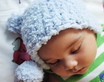 SUMMER SALE 6 to 12m Blue Bear Hat Baby Boy Beanie - Bear Cub Crochet Blue Baby Hat Bear Beanie Baby Bear Prop Photo Prop Gift Costume
