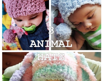 6 to 12m Baby Animal Hat Set, Baby Beanie Set, Animal Baby Hat Set, Bunny Hat, Kitten Hat, Bear Hat, Baby Boy Hats, Baby Girl Hats