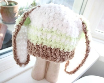 SUMMER SALE 0 to 3m Newborn Easter Baby Hat Stripe Beanie Baby Shower Gift Bunny Hat Unisex Brown Green White Easter Rabbit Hat Photo Prop