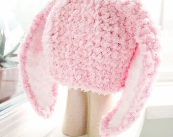 SUMMER SALE 2T to 4T Pink Kids Bunny Hat, Costume Childrens Beanie, Crochet Toddler Hat, Baby Pink White Bunny Ears Rabbit Hat Photo Prop
