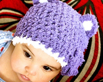 3 to 6m Baby Bear Hat Infant Flower Baby Hat Set Crochet Baby Girl Purple White Hat and Mittens Set Infant Photo Prop Christmas Baby Gift