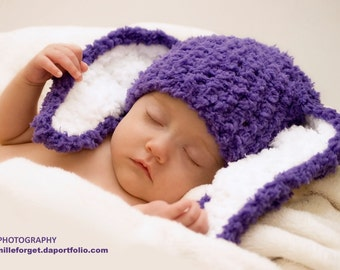 3 to 6m Purple Baby Hat Bunny Ears Purple Girl Baby Hat Purple Photo Prop - Bunny Crochet Purple Baby Beanie Easter Rabbit Hat Costume Gift