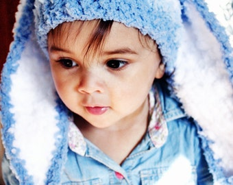 SALE 6 to 12m Boy Blue Baby Hat Stripe Bunny Hat Blue Prop - Crochet Blue Bunny Ear Baby Hat Bunny Beanie Stripe Prop  Baby Gift Labor Day
