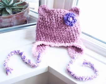 12 to 24m Baby Bear Hat Earflap Beanie Crochet Flower Hat Plum Baby Pink Purple Baby Animal Hat Bear Beanie Girls Baby Hat