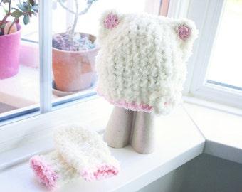 0 to 3m Newborn Baby Bear Hat Set, Baby Shower Gift, Crochet Flower Hat, Newborn Bear Baby Hat, Cream Baby Pink Flower Beanie Christmas