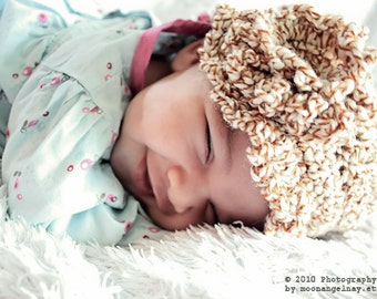 3 to 6m Baby Flower Flapper Hat Brown Cloche Baby Hat Brown Crochet Flower Cloche Hat Baby Brim Hat Baby Girl Photo Prop Costume  Baby Gift