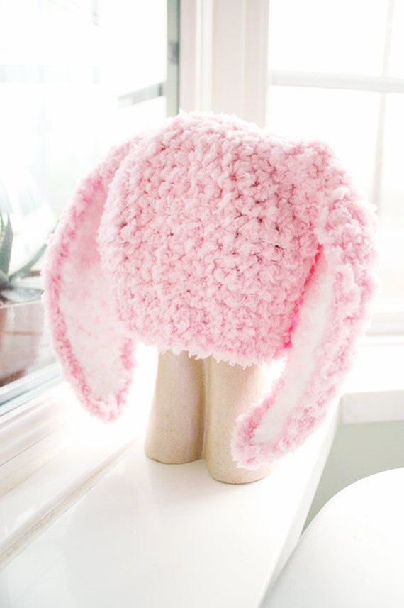 SALE 2T to 4T Pink Kids Bunny Hat, Costume Childrens Beanie, Crochet Toddler Hat, Baby Pink White Bunny Ears Rabbit Hat Photo Prop Halloween