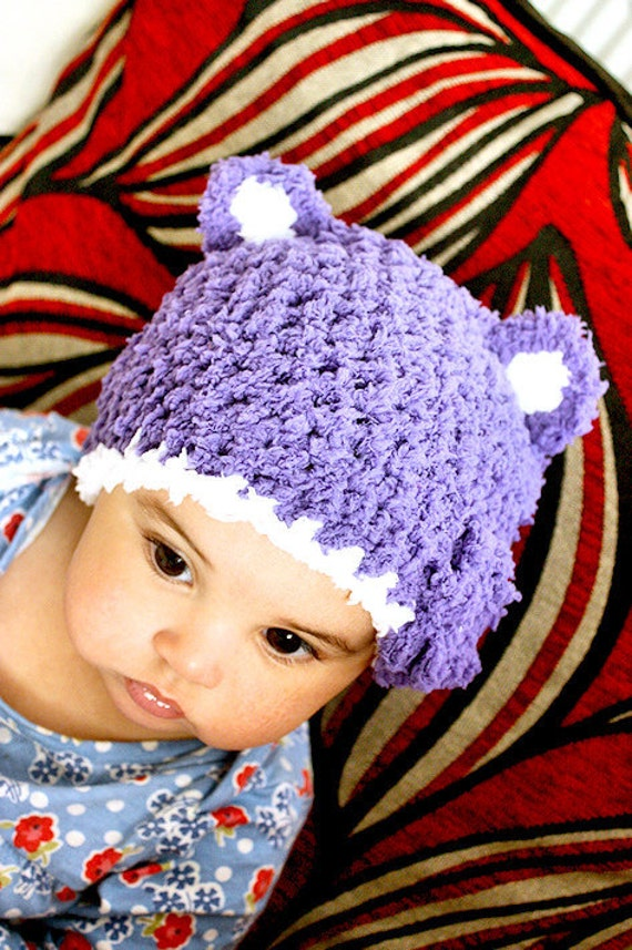 SALE 3 to 6m Baby Bear Hat Infant Flower Baby Hat Set - Crochet Baby Girl Purple White Hat and Mittens Set Infant Photo Prop Halloween