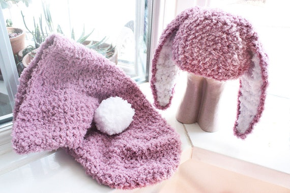SALE 0 to 3m Baby Cocoon Set Baby Bunny Hat Newborn Cocoon Set Baby Shower Gift Crochet Cocoon Baby Set Plum Baby Hat Easter Bunny Ears