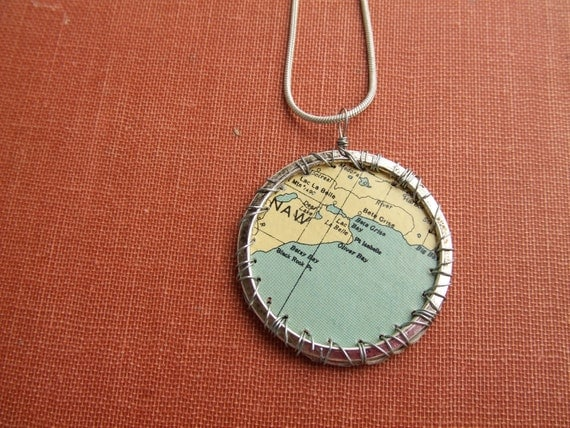 UpCycled Map Graphic Pendant - Silver WireWrap Craft Beer BoxPink Elephant Jewelry