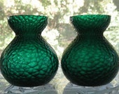 Rare Pair of Antique / Victorian Bulb Forcing Vases in Emerald Green