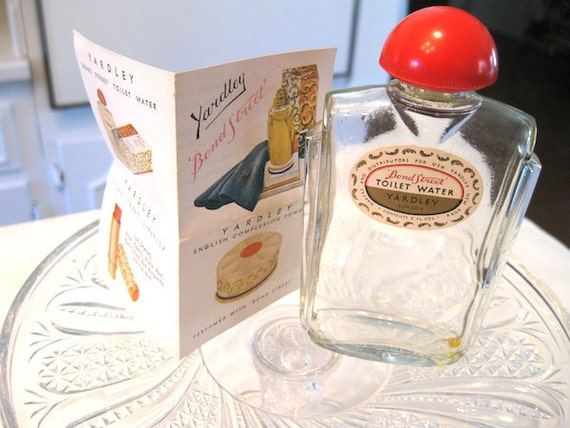 RESERVED for Eliab -- Vintage Yardley Bond Street Scent / Cologne / Toilet Water Bottle with original paper advertisement included