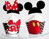 Mickey Mouse and Minnie Mouse  Printable Cupcake Wrappers and Toppers- Party Decorations Digital File - Print at Home Instant Download