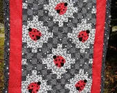 Lady Bug Double Irish Chain Unfinished Baby Quilt Top FREE SHIPPING