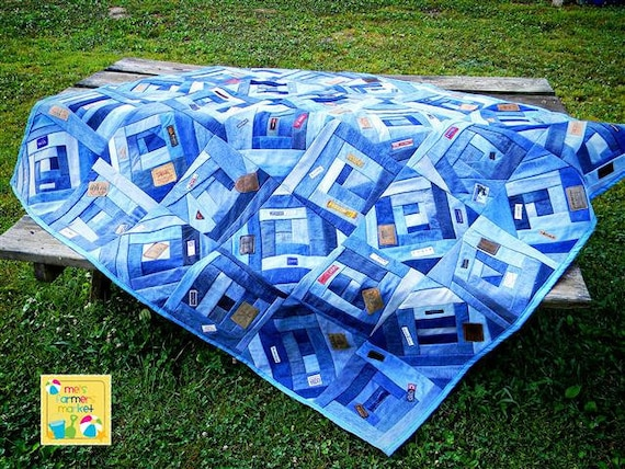 TWIN sz JEAN QUILT Crazy Quilt Style With Labels - Free Shipping