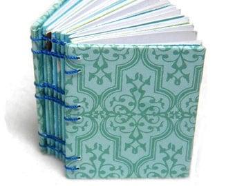 Upcycled Mini Blue Coptic Stitched Journal